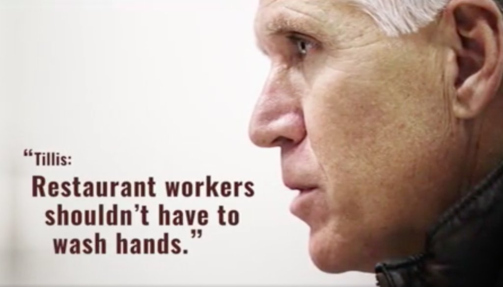 Screenshot of Majority Forward PAC ad against U.S. Sen. Thom Tillis (R-NC)