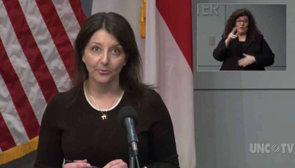 North Carolina health secretary Mandy Cohen speaks at a press conference in Raleigh on April 20, 2020. (screenshot UNCTV)