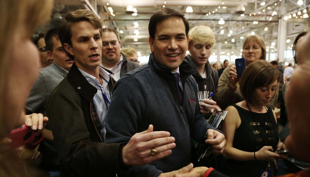 Presidential hopeful Marco Rubio makes his way through the crowd during a Republican Party of Iowa event on Oct. 31, 2015 in Des Moines.