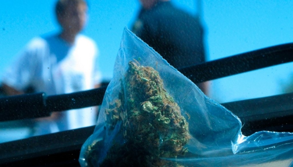 An arrest for marijuana possession by the Idaho State Police in Fruitland, Idaho in 2012.  (AP/Nigel Duara)