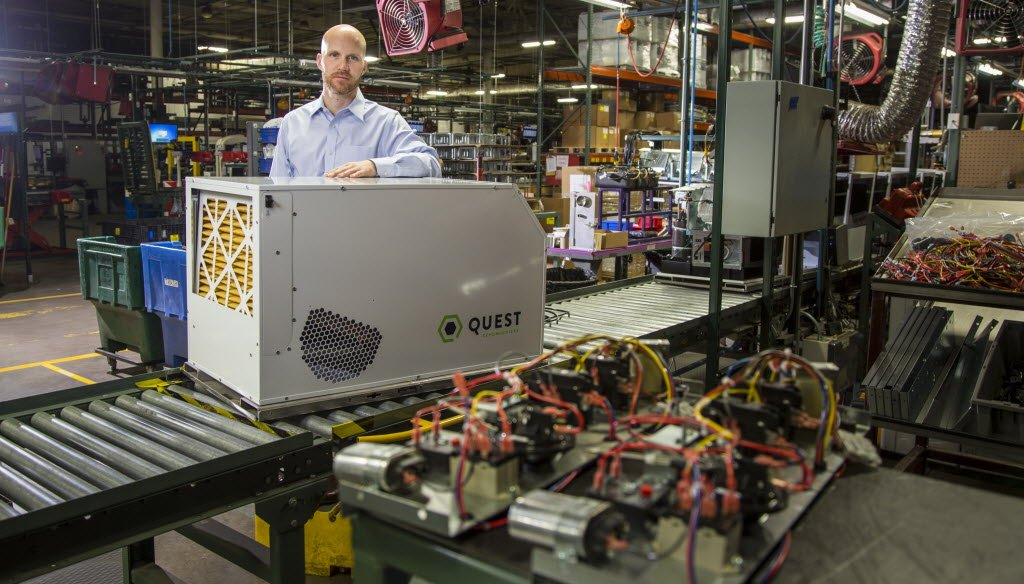 Quest dehumidifiers manufactured in Madison, Wis., are sold to marijuana growers in states that allow sale of the drug for medical or recreational use. (Andy Manis photo)