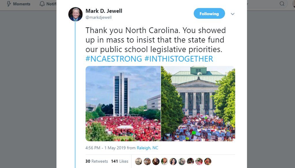 "Mark Jewell, president of the NC Association of Educators, tweeted this photo of the ""red for ed"" crowd on Halifax Mall on May 1, 2019. The photo had been doctored."