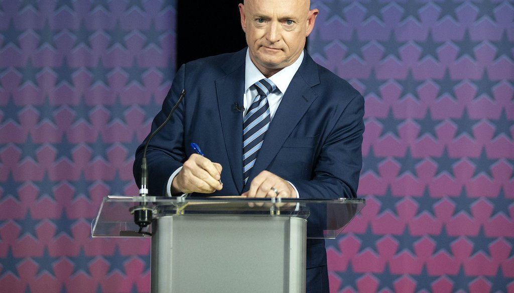 Democratic challenger Mark Kelly prepares to debate U.S. Sen. Martha McSally, R-Ariz., at the Walter Cronkite School of Journalism in Phoenix, Ariz., Tuesday, Oct. 6, 2020. (AP)