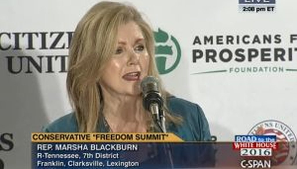 Rep. Marsha Blackburn, R-Tenn., traveled to New Hampshire with several other prominent Republicans, including a few expected presidential candidates, to attend an event sponsored by Americans for Prosperity and Citizens United.