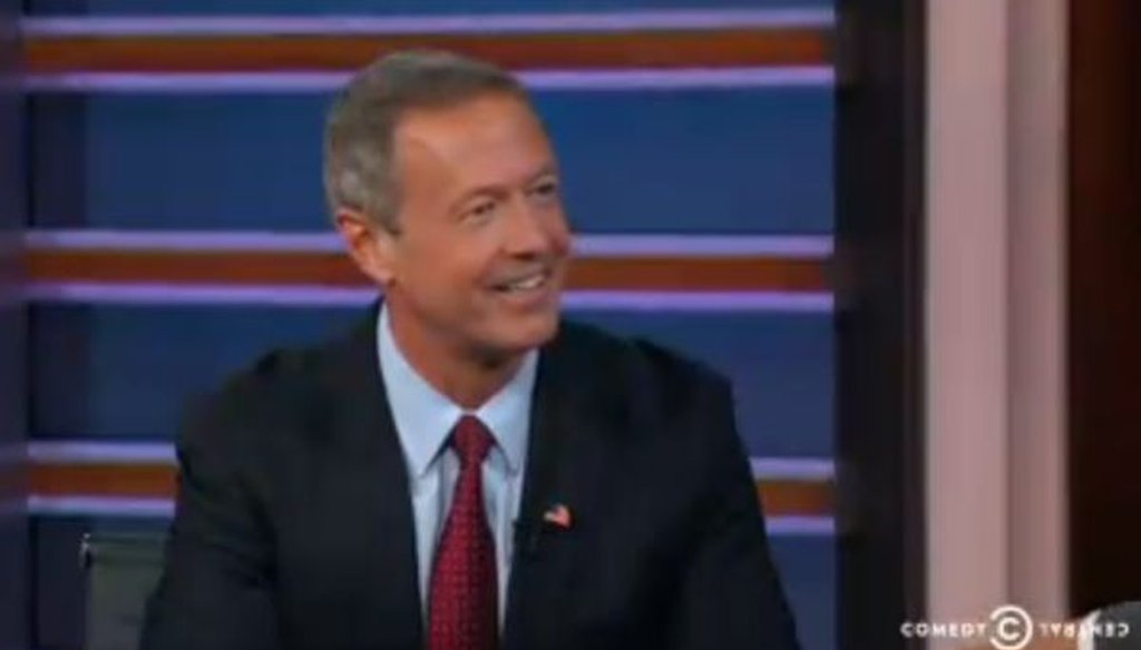 Democratic presidential candidate Martin O'Malley appeared on the Daily Show with Trevor Noah on Oct. 19, 2015.