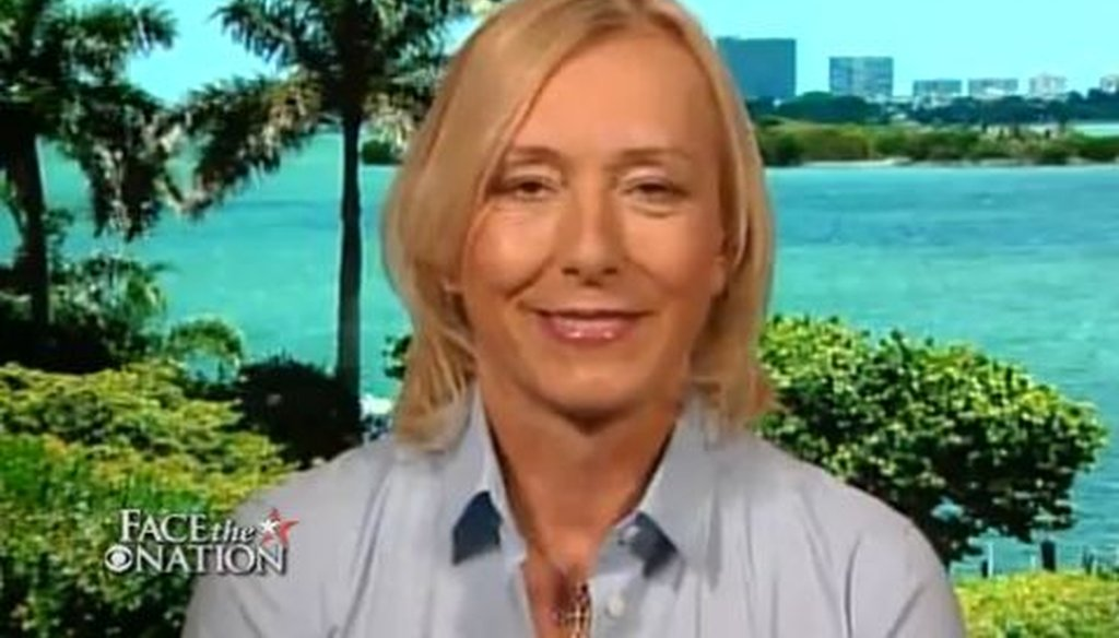 """Tennis champion Martina Navratilova discussed employment policy for gays and lesbians during an appearance on CBS' """"Face the Nation."""" Was her claim accurate?"""