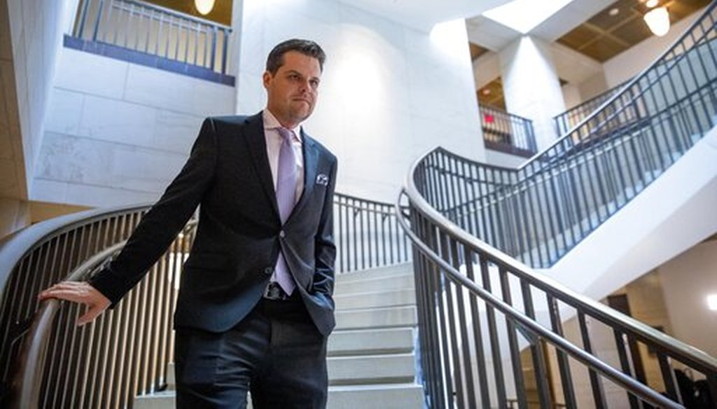 Rep. Matt Gaetz, R-Fla., arrives for a closed door meeting on Capitol Hill, Oct. 14, 2019, as former White House advisor on Russia, Fiona Hill, is scheduled to testify before lawmakers as part of the House impeachment. (AP)
