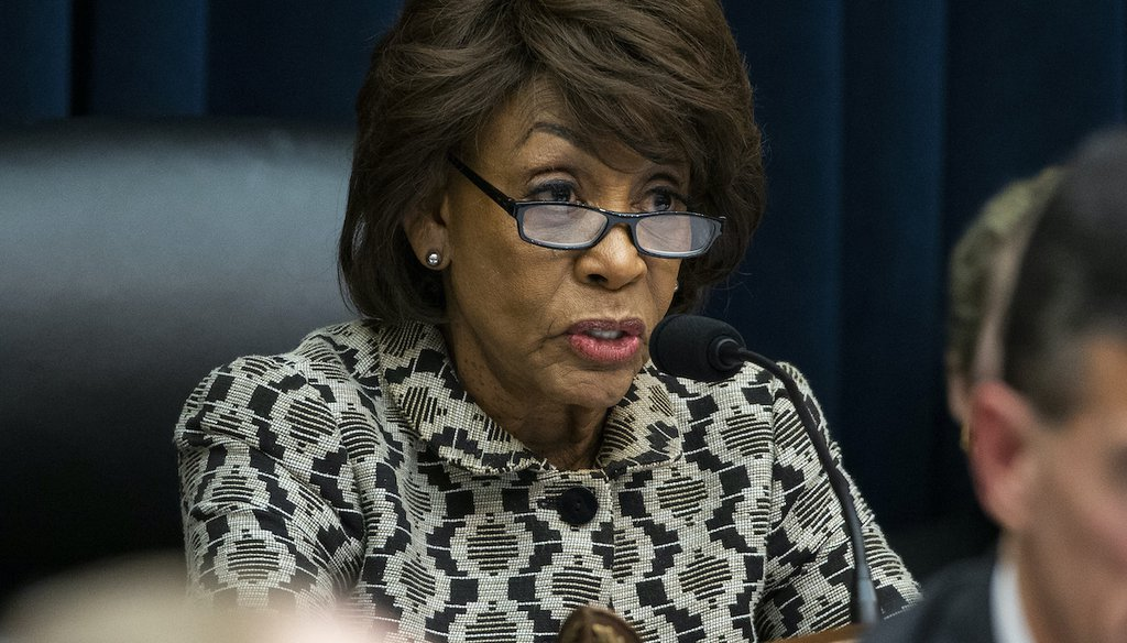 Chairwoman Maxine Waters, of Calif., speaks as Federal Reserve Chairman Jerome Powell testifies before the House Committee on Financial Services, on Capitol Hill, Tuesday, Feb.11, 2020 in Washington. (AP)