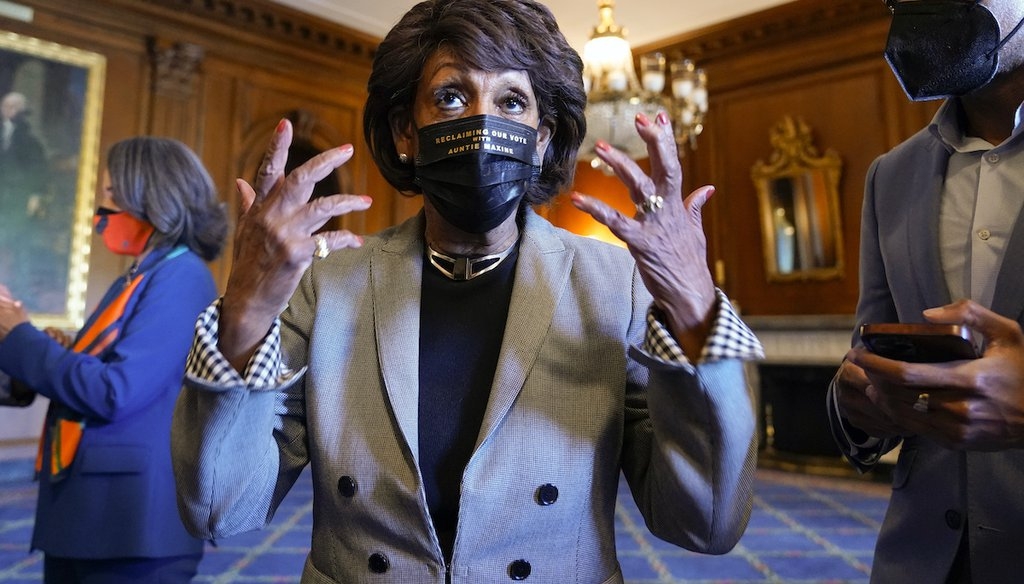 Rep. Maxine Waters, D-Calif., talks on Capitol Hill in Washington on Tuesday, April 20, 2021, as she waits for the verdict to be read in the murder trial of former Minneapolis police Officer Derek Chauvin in the death of George Floyd. (AP)