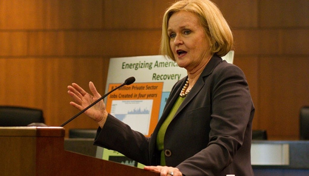 Sen. Claire McCaskill, D-Mo., speaks at Columbia City Hall on March 18, 2014 (Mark Schierbecker/Wikimedia Commons)