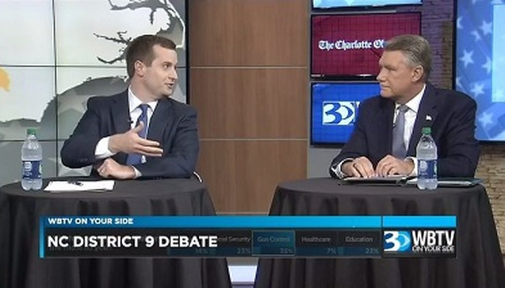 Democrat Dan McCready and Republican Mark Harris are running for North Carolina's 9th Congressional District. They debated on Oct. 10.