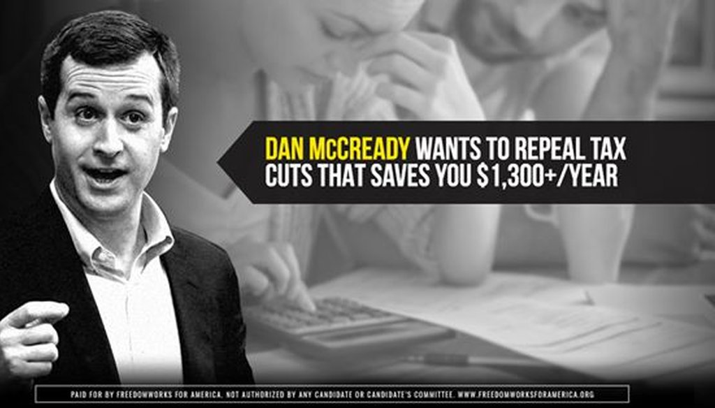 A screenshot of a FreedomWorks Facebook ad targeting former Marine and Democratic congressional candidate Dan McCready