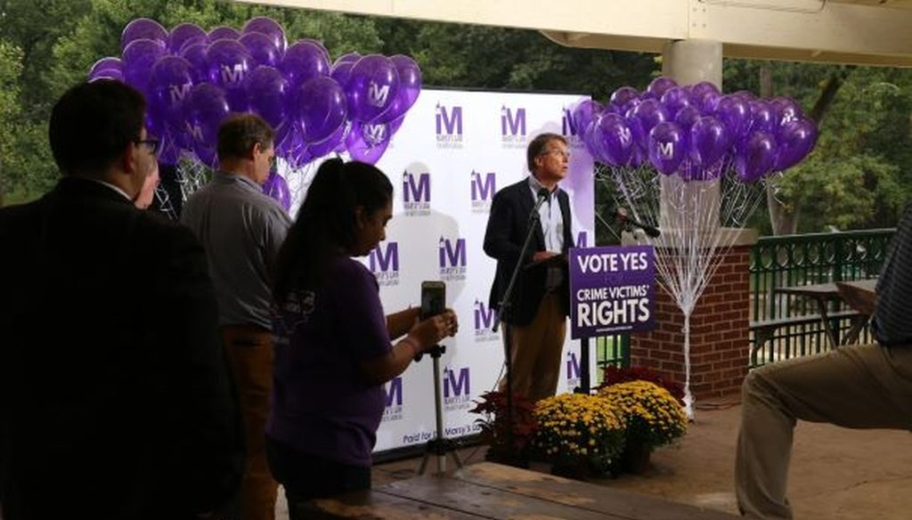 Former Gov. Pat McCrory speaks in favor of the proposed Constitutional Amendment related to victims' rights during a rally in Latta Park in Charlotte on Sept. 10, 2018. The amendment is also known as Marsy's Law.