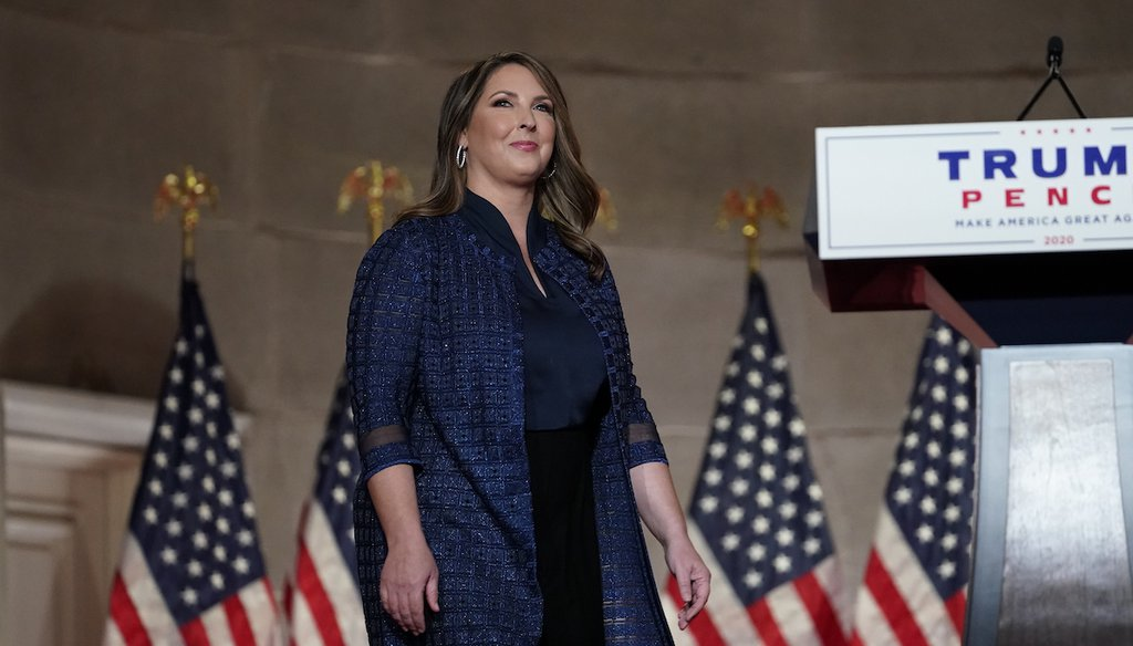 Republican National Committee Chairwoman Ronna McDaniel arrives to speak during the Republican National Convention from the Andrew W. Mellon Auditorium in Washington, Monday, Aug. 24, 2020. (AP)