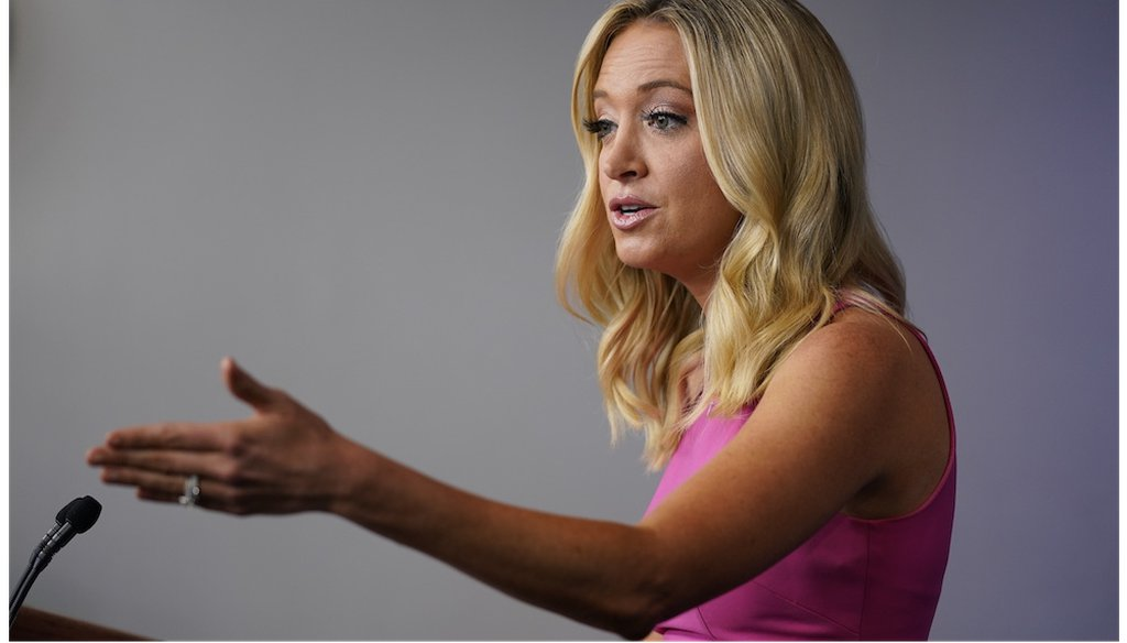 White House press secretary Kayleigh McEnany speaks during a press briefing at the White House.  (AP Photo/Evan Vucci)