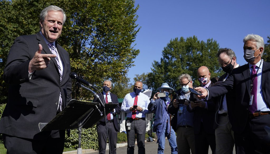 White House Chief of Staff Mark Meadows speaks with reporters at the White House about President Donald Trump's COVID-19 status. (AP Photo/Alex Brandon)