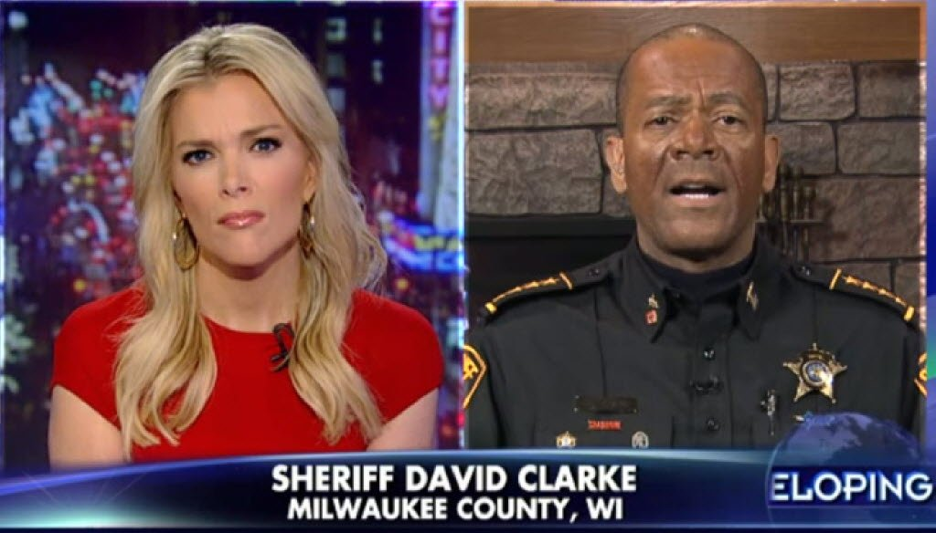 Milwaukee County Sheriff David A. Clarke Jr. has built a national profile in part by appearing on Fox News talk shows such as the one hosted by Megyn Kelly.