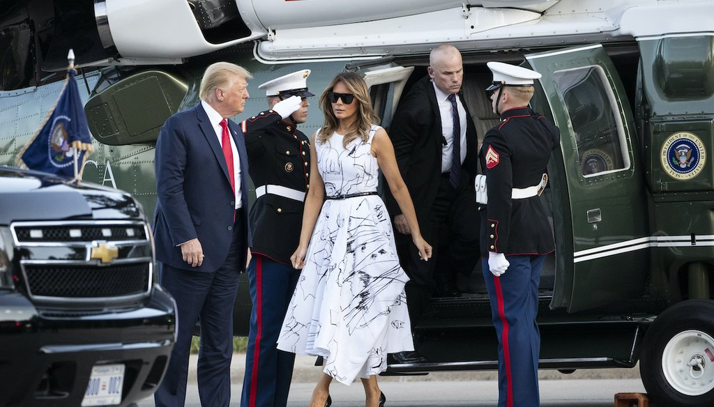 President Donald Trump, accompanied by first lady Melania Trump, step off Marine One as they arrive at Mount Rushmore National Memorial, Friday, July 3, 2020, near Keystone, S.D. (AP)
