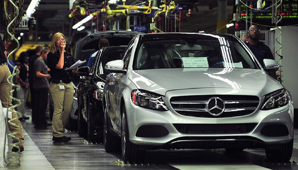 Workers produce C-Class sedans at the Mercedes plant near Tuscaloosa, Ala. The German automaker is moving its U.S. headquarters to metro Atlanta. Photo by Tamika Moore/AL.com, via Associated Press