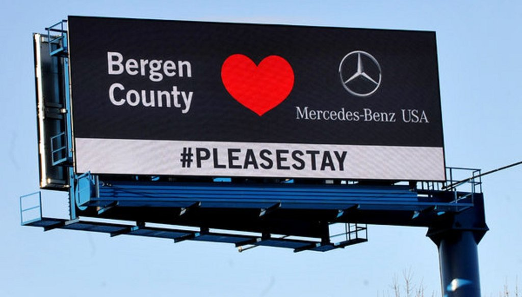 A billboard in Bergen County, N.J., implored the company not to leave. Photo by Don Smith/Northjersey.com, via Associated Press