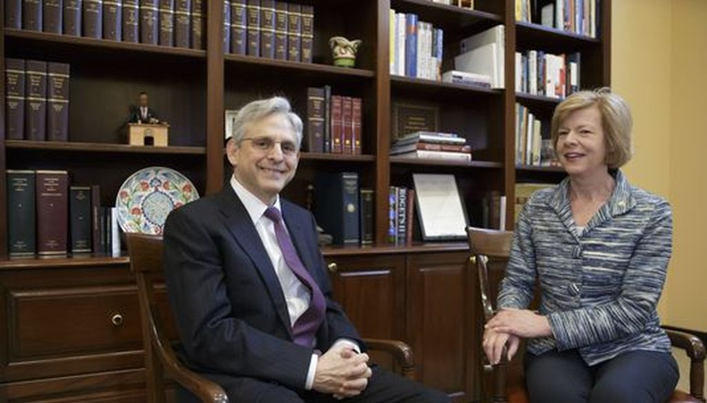 U.S. Sen. Tammy Baldwin, D-Wis., met with federal appeals court Judge Merrick Garland, who had been nominated to the U.S. Supreme Court by President Barack Obama. The Republican-controlled Senate did not allow a vote on the nomination. (Associated Press)