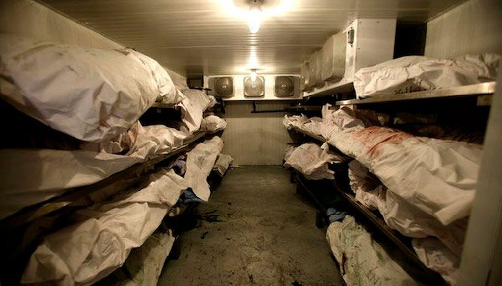 This photograph purportedly showing a morgue full of bodies in Slovyansk, Ukraine, was published on a Russian website, then went viral. But the image actually showed a morgue in Mexico during the drug wars in 2009. (AP/Guillermo Arias)