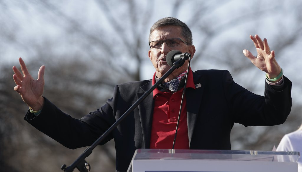 Michael Flynn speaks to a Trump rally on Dec. 12, 2020. (AP)