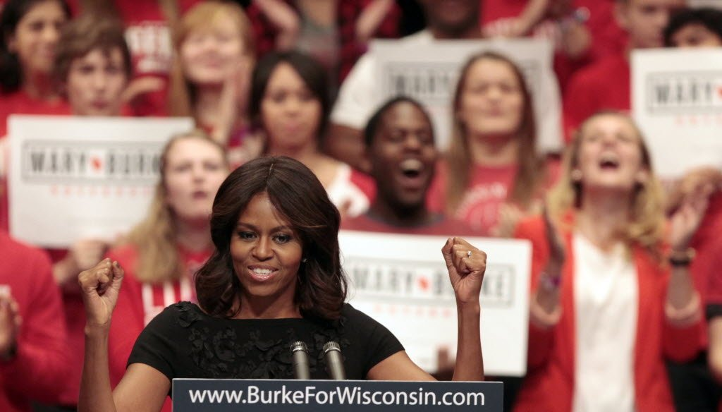 The first lady touted her husband's accomplishments while campaigning in Madison for Wisconsin gubernatorial candidate Mary Burke.