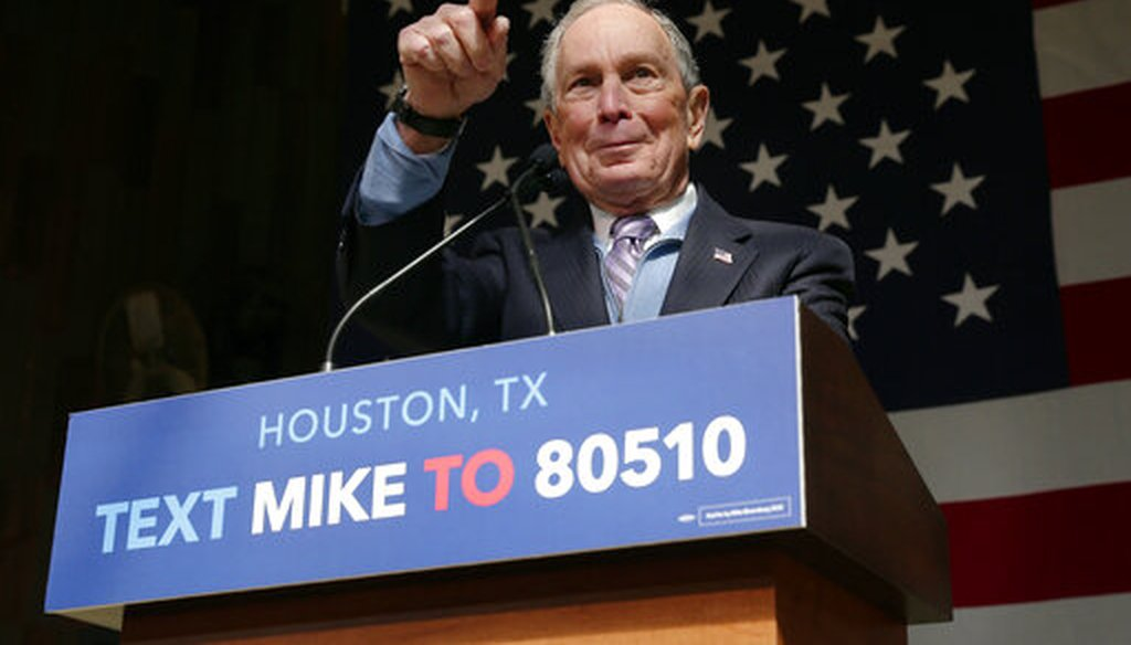 Democratic presidential candidate former New York City Mayor Mike Bloomberg speaks during a campaign event at The Rustic restaurant, Thursday, February 27, 2020, in Houston. (AP)