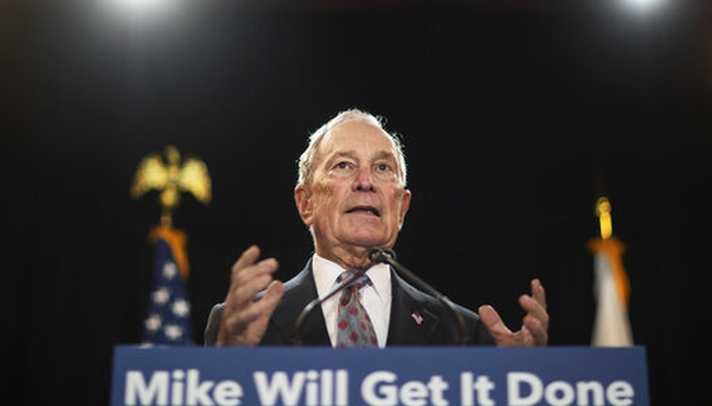 Democratic presidential candidate and former New York City Mayor Michael Bloomberg speaks at a campaign event Wednesday, Feb. 5, 2020, in Providence, R.I. (AP)
