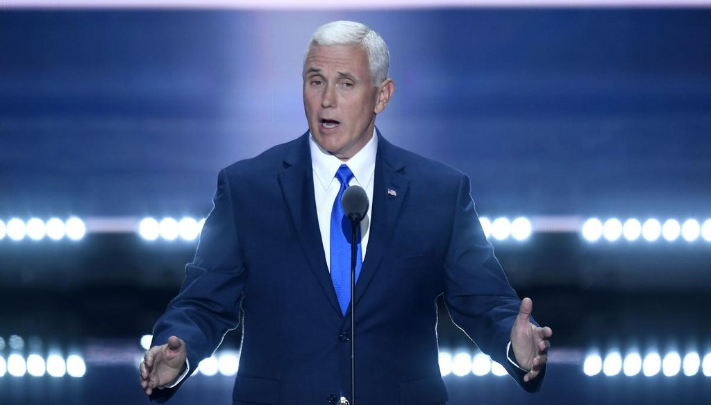 Republican vice presidential nominee Mike Pence speaks on the third day of the Republican National Convention in Cleveland on July 20, 2016. (TNS)