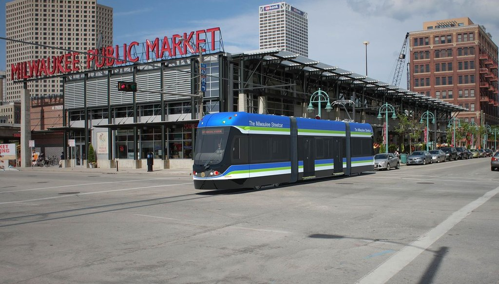 A streetcar project now under construction in the downtown Milwaukee area has sparked debate about whether it will promote economic development. (Rendering)