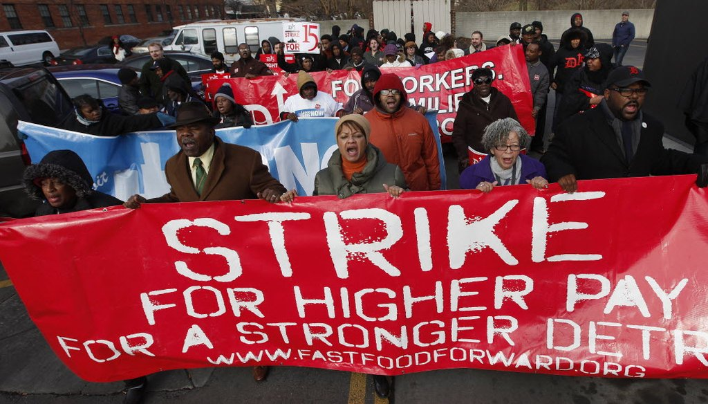 Protesters rallied for better wages at a Wendy's in Detroit on Dec. 5, 2013. Demonstrations planned in 100 cities were part of a push by labor unions, worker advocacy groups and Democrats to raise the federal minimum wage of $7.25 per hour.