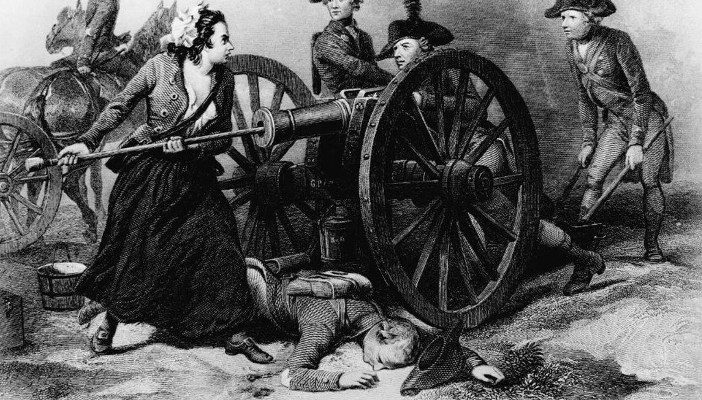 Molly Pitcher, a semi-mythical Revolutionary War figure, reloads a cannon. (Wikimedia Commons)