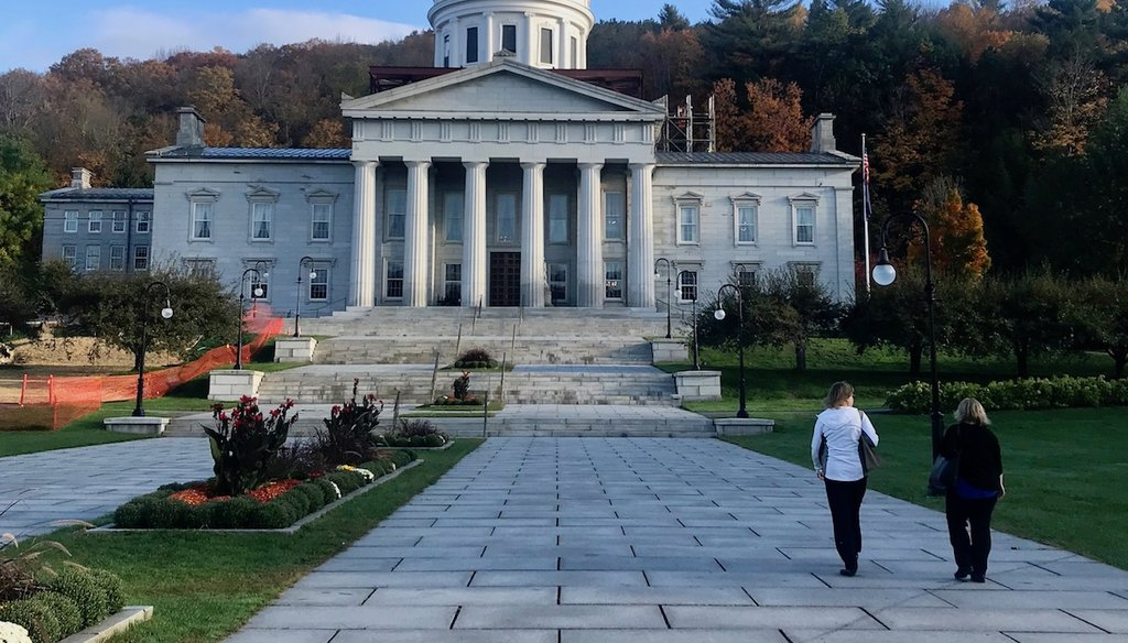 The Vermont State House, located in Montpelier, is the state capitol of Vermont and the seat of the Vermont General Assembly. (PolitiFact photo by Angie Drobnic Holan)