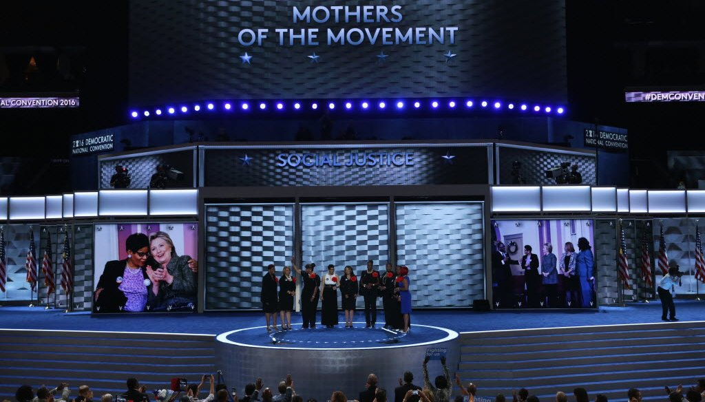 Maria Hamilton (far left) and other mothers who lost children to gun violence or after contact with police appeared at the 2016 Democratic National Convention. Hamilton's son, Dontre Hamilton, was killed by Milwaukee police in 2014. (Getty Images)