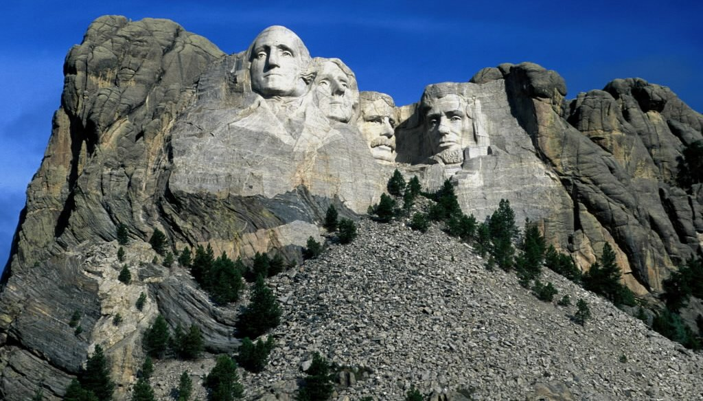 Presidents depicted in stone at Mount Rushmore are, from left, George Washington, Thomas Jefferson, Theodore Roosevelt and Abraham Lincoln.