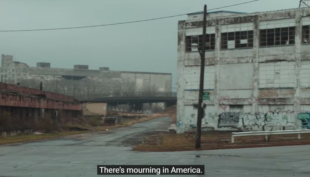 "The opening shot of an ad critical of President Donald Trump, titled, ""Mourning in America."" (Screenshot)"