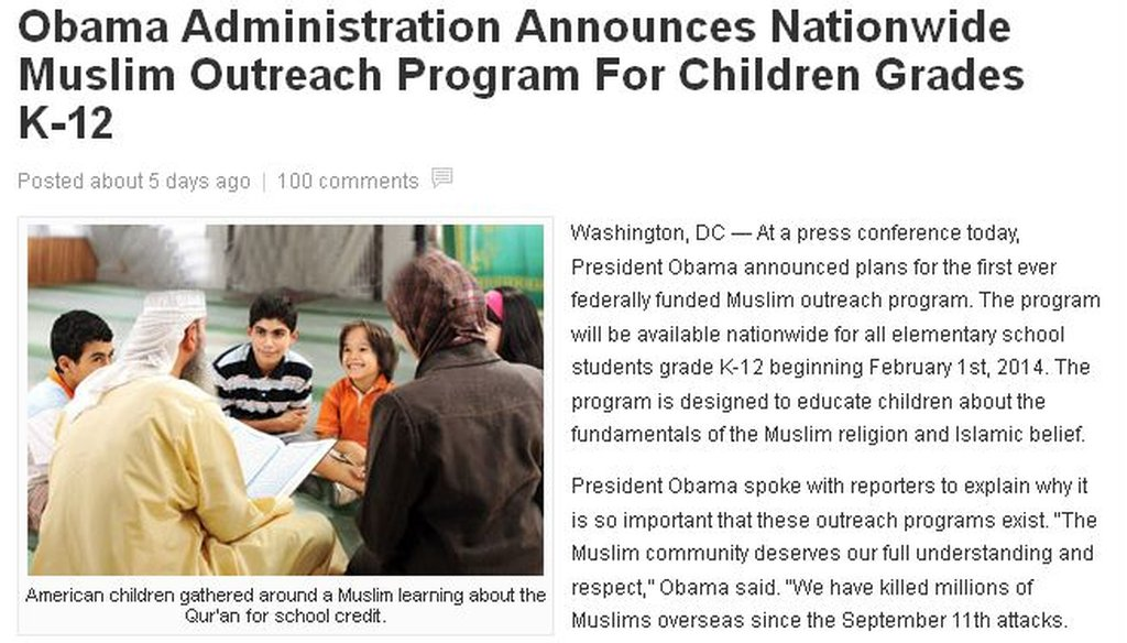 """This is one of many conservative blogs that posted a story that said President Barack Obama had announced a """"nationwide Muslim outreach program."""""""