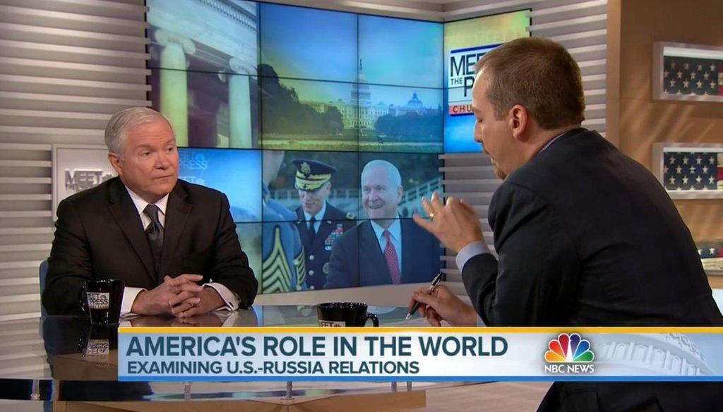 "Former Defense Secretary Robert Gates (left) and Chuck Todd on ""Meet the Press"" Feb. 1, 2015."