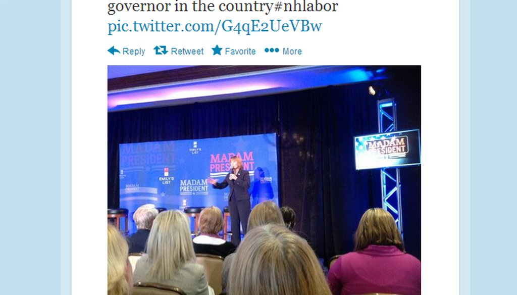 Gov. Maggie Hassan at the podium during EMILY's List event in Manchester, N.H. on Sept. 27, 2013