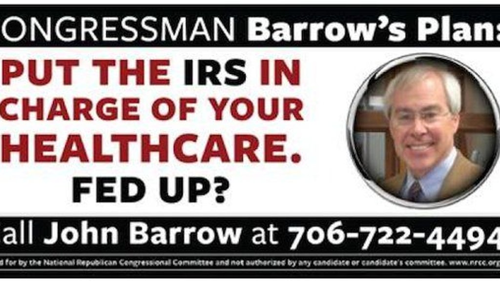 The National Republican Congressional Committee said it is paying for mobile billboards such as this to travel around U.S. Rep. John Barrow's congressional district. The ad attacks the Georgia Democrat's position on the federal health care law.
