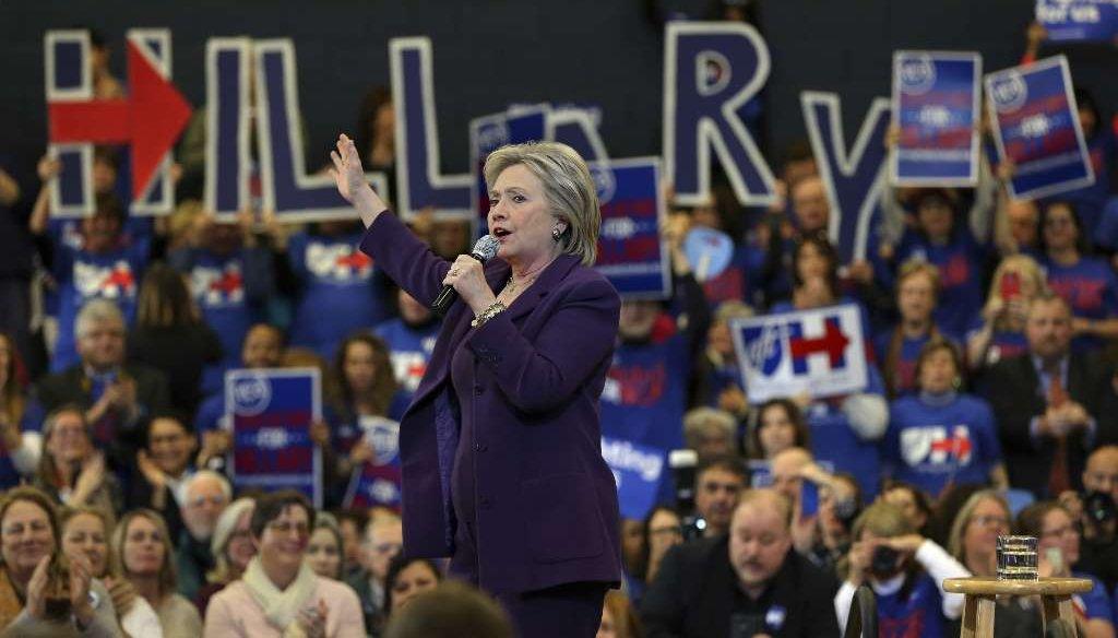 Hillary Clinton rallying in New Hampshire. (NYT)