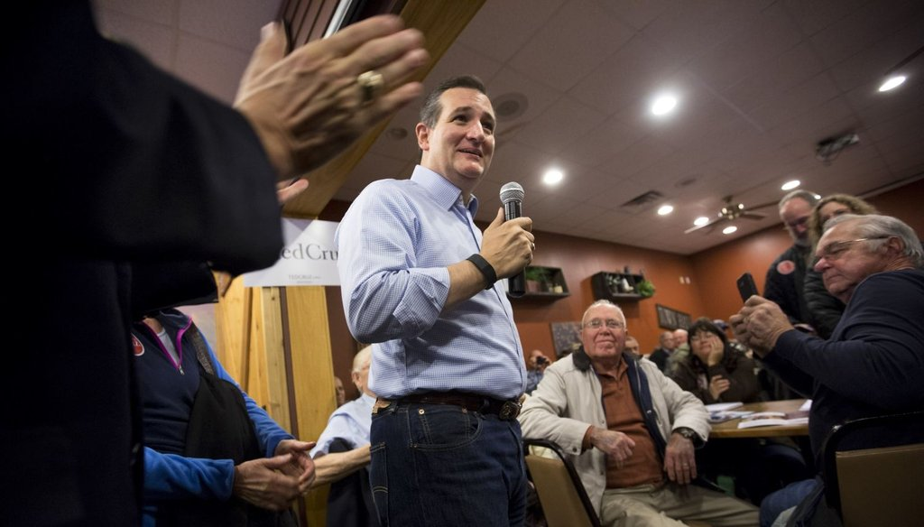 Sen. Ted Cruz, R-Texas,  speaks during a campaign stop at a Pizza Ranch in Newton, Iowa, on Nov. 29, 2015.