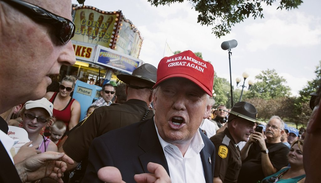 Donald Trump attends the Iowa State Fair on Aug. 15, 2015. A position paper that appeared on Trump's website a day later on the country's immigration system. (The New York Times)