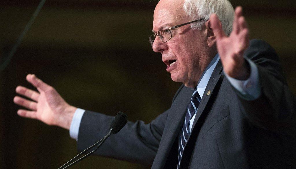 Sen. Bernie Sanders, I-Vt., speaks at Georgetown University in Washington, Nov. 19, 2015. (New York Times)