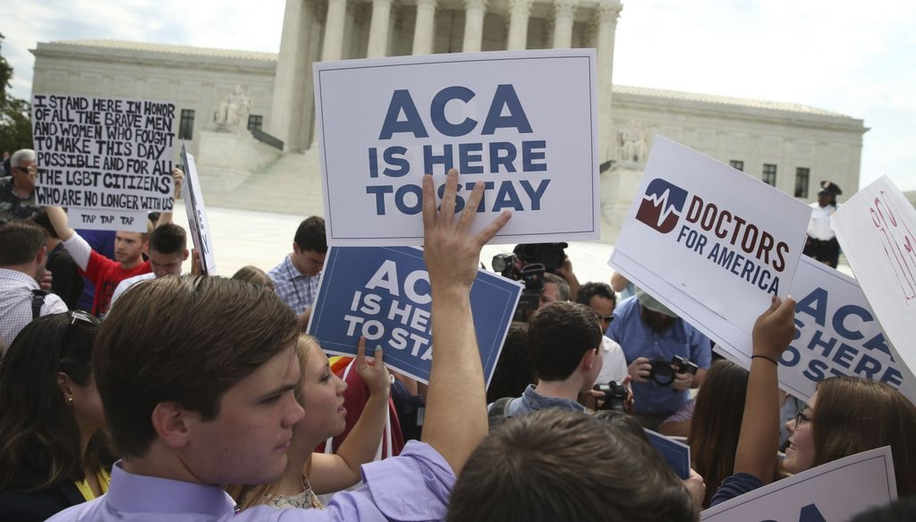 Demonstrators in support of the Affordable Care Act outside the U.S. Supreme Court in Washington, June 25, 2015.