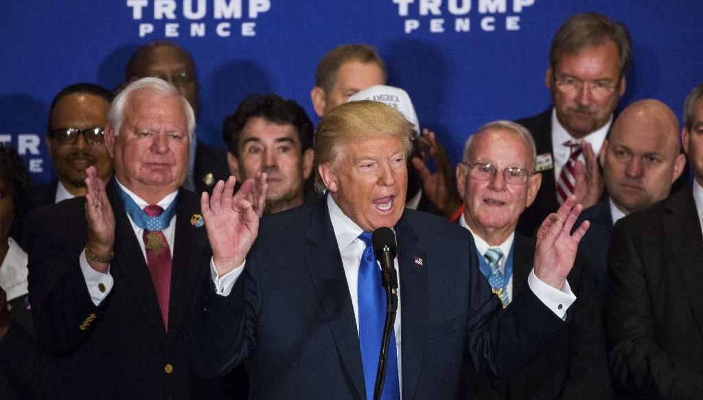 Donald Trump acknowledged President Obama was born in the U.S. at a campaign event at the recently opened Trump International Hotel, in Washington, Sept. 16, 2016. (Damon Winter/The New York Times)