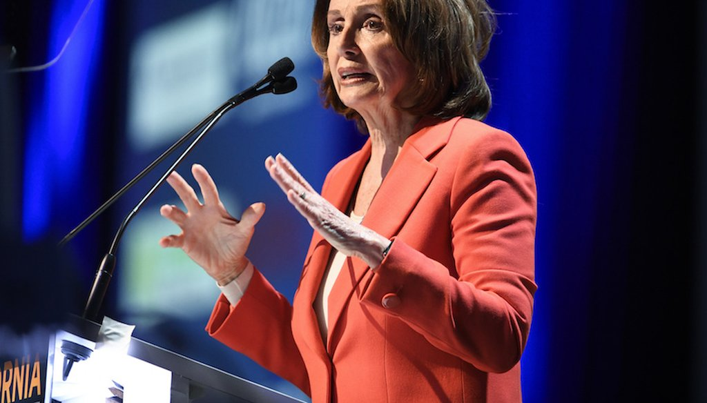 Then-House Minority Leader Nancy Pelosi of Calif. speaks at the 2018 California Democrats State Convention Saturday, Feb. 24, 2018, in San Diego. (Associated Press)
