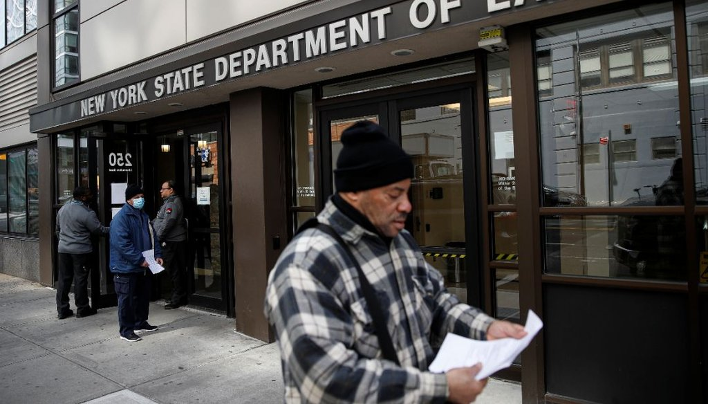 Visitors to the New York Department of Labor are turned away at the door due to closures over coronavirus concerns. (AP)